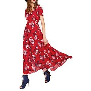 Long button up red floral print dress